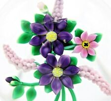 Large DELICATE Bobbi BANFORD Purple & Pink FLOWER BOUQUET Art Glass PAPERWEIGHT