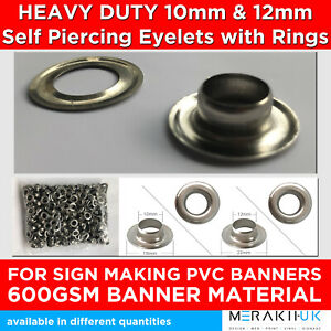 Eyelets 10mm 12mm For Sign Makers Heavy Duty Self Piercing Vinly PVC Banner