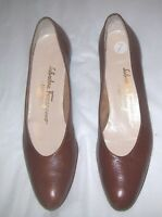 Salvatore Ferragamo Sz 7 Shoes Brown Leather Heels Italian Animal Lizard Pumps