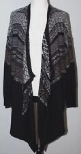 NWOT DKNY Wrap Sweater Open Front Black Brown Gray XL with Angora Rabbit COZY!
