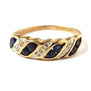 Gold Diamond Sapphire Ring 9ct Yellow Gold 1.8g Size J 1/2 Fully Hallmarked