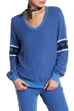 NWT Wildfox Heart's Desire Baggy Beach V-Neck Jumper Size M Piscine Blue $98