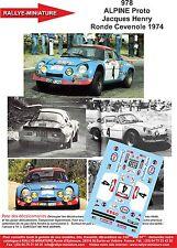 DÉCALS  1/43 réf 978 ALPINE Proto Jacques Henry Ronde Cevenole 1974