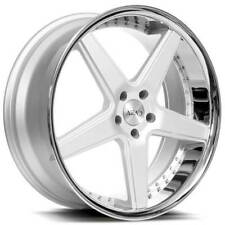 "4ea 20"" Staggered Azad Wheels AZ008 Silver Brushed with Chrome Lip Rims(S10)"