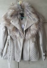 River Island Petite cream faux fur collar biker jacket size 6