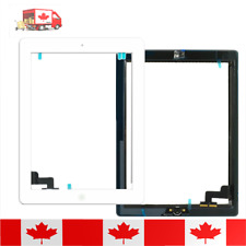 iPad 2 White Touch Screen Digitizer With Home Button + Adhesive & Tempered Glass