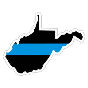 West Virginia WV State Thin Blue Line Police Sticker / Decal #225 Made in U.S.A.