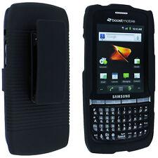 Black Snap-On Hard Case Cover w/ Black Holster Combo for Samsung Replenish M580
