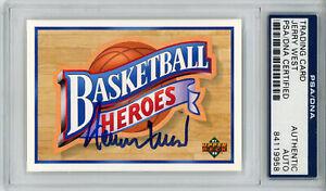 Jerry West Signed 1992 Upper Deck Basketball Heroes Card PSA Slab 32893