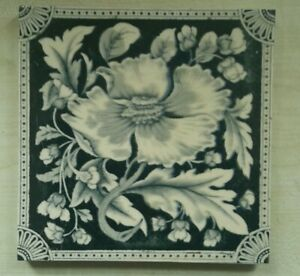 Arts & crafts floral tile. Corn Brothers. Date 1900.