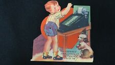 Vintage Adding Machine & Pup Valentine Card c. 1940s