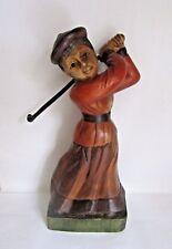 Pintado De Madera Tallada Grande Vintage mujer golfista Adorno Estatuilla Figura De Madera