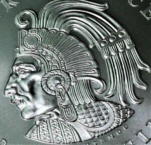2 oz .999 Silver Aztec Calendar Stone Eagle Warrior Emperor of Tenochtitlan  BU