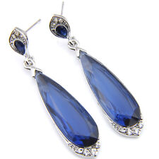 European Teardrop London Blue Topaz Gemstone Silver Woman Dangle Hook Earrings