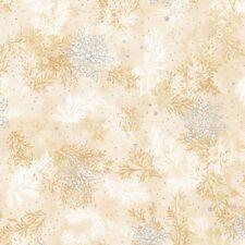 Kaufman Metallic Holiday Flourish 10 16557 15 Ivory Branches By The Yard