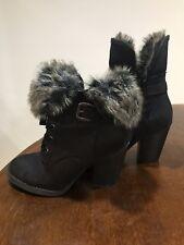Women Black Faux Fur Boots Size 7