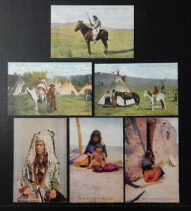 6-Native American Indian-Cree-Sarcee-Piegan-Apache-Hopi-Antique Postcard Lot