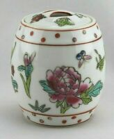 "Colorful Vtg Chinese Hand Painted Porcelain Lidded Kitchen Herb Spice Jar 2.5"""