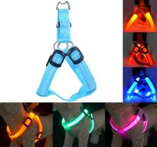 Dog Harness Nylon Leash Rope Belt Pet Walk Collar Vest Safety LED Flashing Light