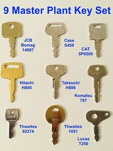 9 Master Plant Key Set JCB Case CAT Hitachi Takeuchi Komatsu Thwaites Lucas Keys