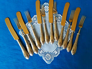 VINTAGE 800 SILVER & SOLINGEN BRASS  SIX PLACE SETTINGS DESSERT FORKS AND KNIVES