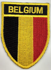 Belgium Flag Shield Crest Patch Embroidered Iron On Sew On Applique Belgian