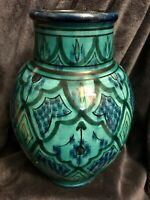"""Antique Moroccan Safi Hand Painted Ceramic Pottery Vase Middle Eastern 10"""""""