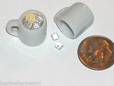 1Pc Miniature dollhouse Coffee cup with loose Ice cubes Mug tea food charm New