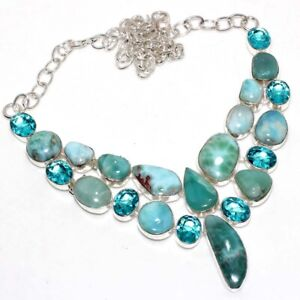 """Larimar Blue Topaz 925 Silver Plated Big Cluster Necklace 16"""" Gift Jewelry GW"""