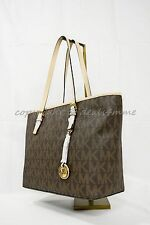 Michael Kors Jet Set Travel 38F6GTVT3B Signature PVC Top Zip Tote Brown