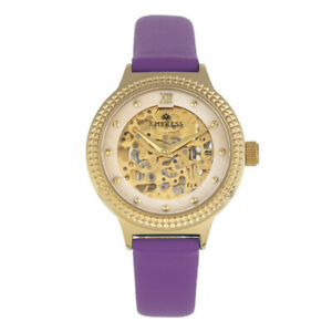 Empress EMPEM3205 Alice Automatic MOP Skeleton Dial Leather-Band Watch, Purp