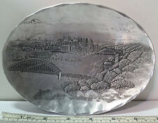 """Wendell August Pittsburgh City Scape 6.8"""" x5"""" Collectable Usa Made Aluminum Dish"""