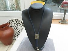 hill skier on cord unusual item Stunning Art Deco quirky necklace metal down