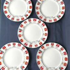 """Set Of 5 Andy Warhol Signed Campbells Soup Can 10 5/8"""" Plates -By Block Pop Art"""