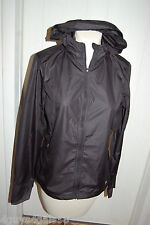 Womens Windbreaker BLACK PERFORMANCE JACKET Zip Front HOODED Lt Weight XS 0-2