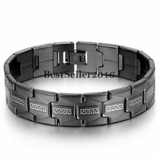 Greek Key Black Stainless Steel Link Chain Men's Bracelet Cuff Bangle Wristband