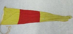 "Old Vintage Marine Maritime Cotton Signal Pennant Zero Yellow Red 58"" X 17"""