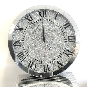 XL 45x45 Sparkly Silver Crushed Diamond Crystal Mirrored Wall Clock Round
