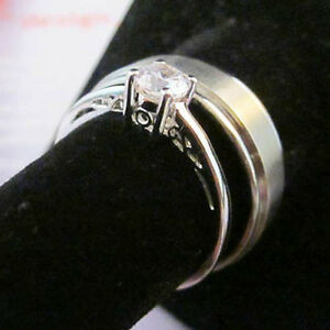 HIS TITANIUM RING Side Step 8mm & HER Silver Soltaire Cut Engagement Ring 5-12