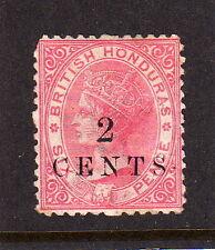 BR.HONDURAS 1888 2c on 6d ROSE P.12½ MOUNTED MINT.