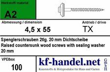 Spenglerschrauben 4,5 x 55 mm mit 20mm Dichtscheibe V2A Edelstahl 100 Stück TX20