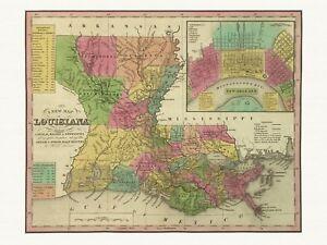 Old Antique Decorative Map of Louisiana Tanner ca. 1836