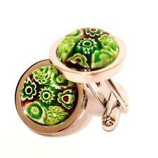 Green Murano Millefiori Round Glass & Silver Inlay Chunky Cufflinks.