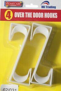 4 OVER DOOR PLASTIC HOOKS KITCHEN HANGER ORGANISER HOLDER  HOOK