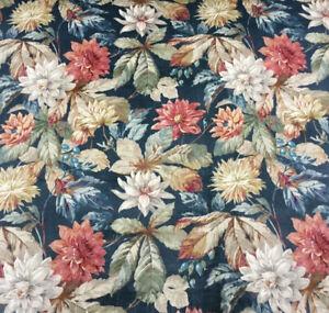 SANDERSON Dahlia & Rosehip VELVET FABRIC Teal Russet 1.9METRES Curtains Cushions