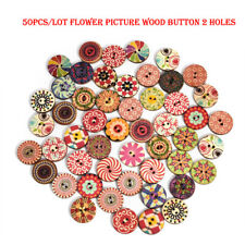 50x Flower Picture Wood Buttons 2 Holes Mixed Color Apparel Sewing DIY Gifts