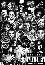 "Rap Gods (Rapper Collage) Silk Cloth Poster 20 x13""  Decor 06"