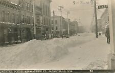 JANESVILLE WI – Milwaukee Street Winter Scene Real Photo Postcard rppc - 1909