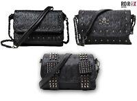 Ro Rox Women's Studded Skull Crossbody Shoulder Bag Punk Gothic Studs PU Handbag