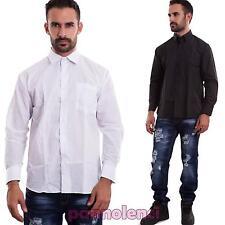 Camicia uomo casual basic maglia slim maniche lunghe classica nuova NJ001